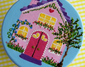 Hand Painted Love Boxes Love at Home Pink House painted trinket box wood