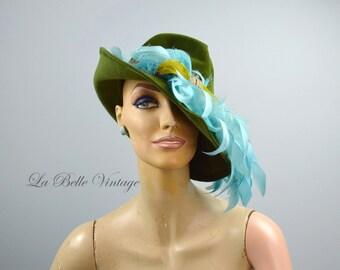 Vintage 1930s Tilt Hat Green Wool Felt Fedora Large Dramatic Teal Feathers
