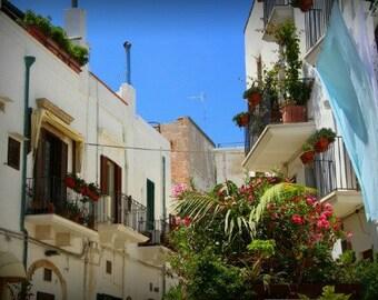 "Italy art print, ""Summer skies"", Puglia photography, Mediterranean life print, Italian balconies, Hanging laundry art print, Laundry room"
