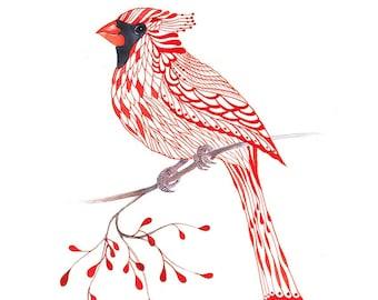 Cardinal Bird, lacy cardinal on branch art print, size 8'x10'/A4 (No. 1)