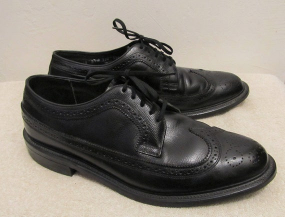 60's Leather era Vintage MEN Black Wingtips Men's MAD Imperial 10D Sharp EXECUTIVE By wCnqnxE