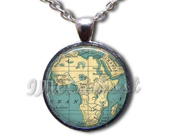 Africa Road Map Glass Dome Pendant or with Chain Link Necklace