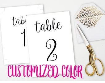 Wedding Table Numbers | 4x6 and 5x7 Table Numbers | Signs Custom Color | Customized Color | Table Number | Wedding Printable | Wedding Sign