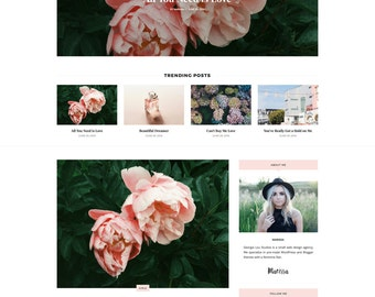 "Premade Blogger Template - Responsive Blog Theme - Customizable - Feminine - ""Marissa"" - premade blog template, blogger design, blog design"
