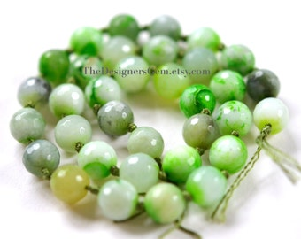 Multi Color White and Bright Lime Green Fire Agate Faceted Rounds 10mm -1/2 STRAND