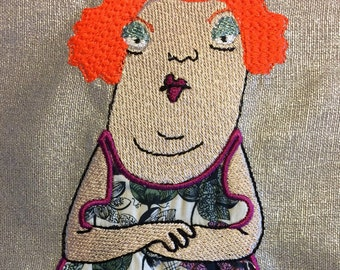 Whimsical and cheerful machine embroidery of the enchanting Frau Maus to embellish your craft - pillow cases, a dress or something else...