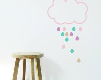 RAIN CLOUD Wall Sticker, Removable Decal, Made In Australia