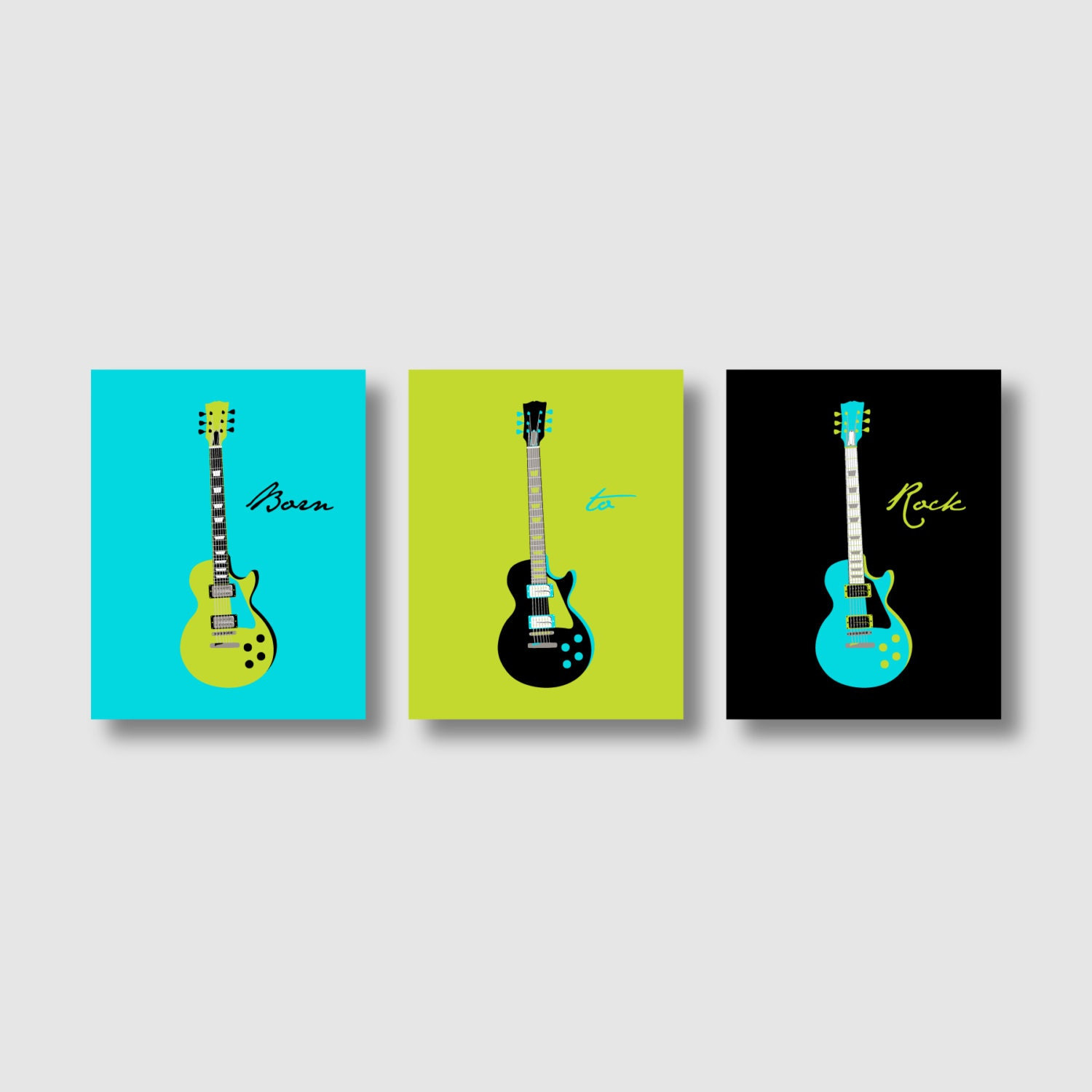 Guitar Art Modern Guitar Print Groovy Guitars Wall Art