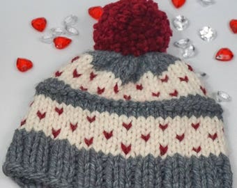Chunky Fair Isle Hearts Knitted Winter Hat - Valentine's Day Gift