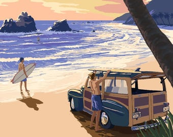 Kailua, Hawaii - Woody on Beach - Lantern Press Artwork (Art Print - Multiple Sizes Available)