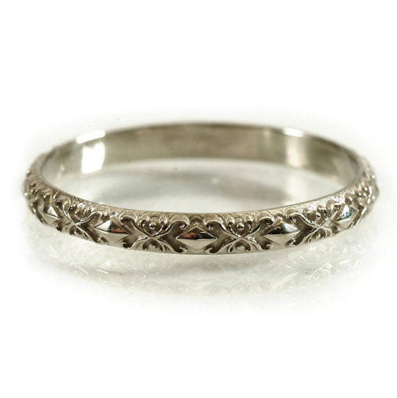 Gold Stackable Ring Flowing Delicate Art Nouveau Design in 10K 14K 18K or Palladium, Made in Your Size Cr-5022