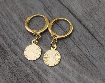 gold disc circle hoops endless hoop huggie dangle earring simple earrings everyday/gift for her