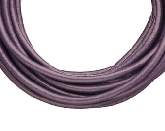 Full-grain leather cord, 3mm round dark indigo 5 yard roll