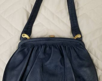 Vintage 1950's Navy Blue Leather Handbag H.A.& E Smith Bermuda LTD Made in France