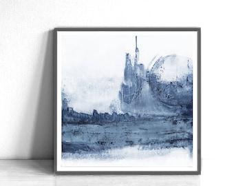Wall Art 12x12, Abstract Wall Art, Abstract , Blue Print, Scandinavian Design, Minimalist Art, white and navy blue, light blue, Landscape