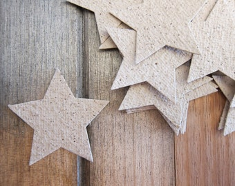 20 Handmade Tea leaf paper stars, Recycled paper, Star decoration, Paper star shapes, Star garland, Eco friendly wedding decoration, Natural