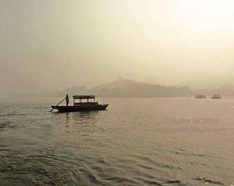 Hanzhou Wooden Boat West Lake Photography - China - Asian Fine Art Photography, Pagoda, Leifang