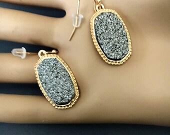 Drusy Earrings Druzy Earrings, Gold Tone grey earrings
