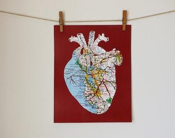San Francisco Bay Area Heart Map Art Print // 11x14 Poster // Anatomical Heart of SF Bay