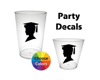 Graduation Vinyl Decals DIY Party Cups Boy Silhouette Decal Graduation Party Supply Set of 18 Choose From 25 Colors