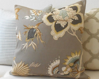 Multicolor taupe Iman floral decorative pillow cover