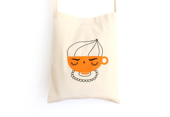 Tote bag with shoulder strap - Angry Cappuccino - screen-printed shopping bag - organic cotton - coffee lover illustrated bag