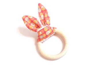 Round orange bunny ears teething ring