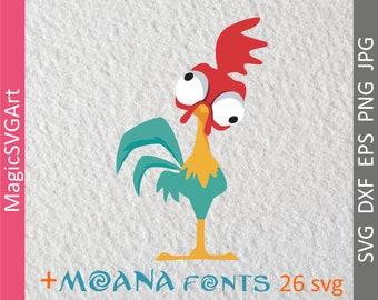 Moana svg, Hei Hei SVG, Cock svg, Hei Hei cut file with moana fonts