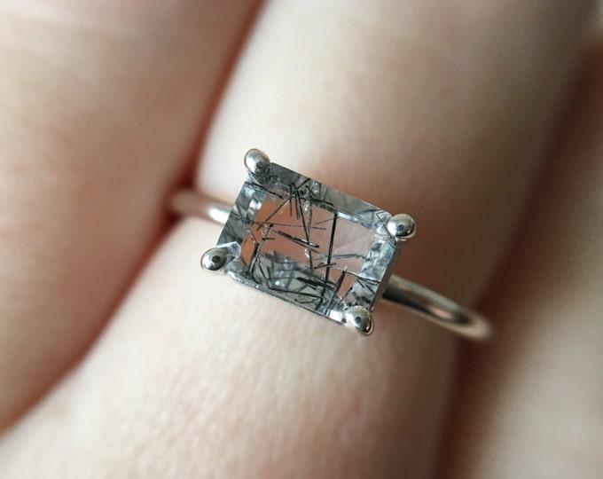 7x5 Emerald Cut Faceted Tourmalinated Quartz Ring