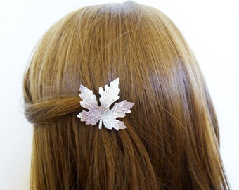 Silver Leaf Barrette Maple Leaf Hair Clip Leaf Hair Accessories Nature Forest Accessories Rustic Woodland Wedding Bridal Hair Accessories