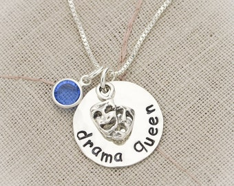 Drama Queen Necklace, Theater Jewelry, Acting Necklace, Drama Queen Jewelry, Actor Gift, Actress Jewelry,  Stamped Jewelry