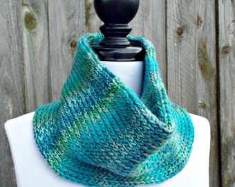 Double Knit Circle Scarf Womens Scarf - Aqua and Teal Blue Cowl Blue Scarf - Cowl Scarf Womens Accessories Spring Fashion - READY TO SHIP