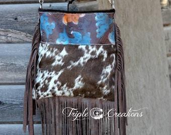 Cowhide Crossbody Bag with Fringe- Sale