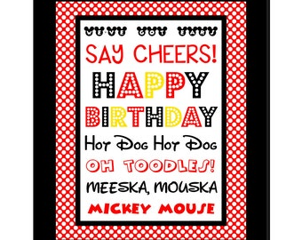 INSTANT DOWNLOAD Minnie Mouse 8x10 Happy Birthday Sign