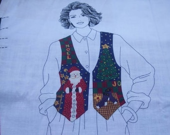 Womens Christmastime Vest Fabric Panel XS, S, M, L