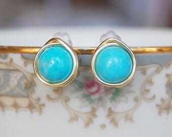 Turquoise Post Earrings , Light Blue Earrings , Turquoise Silver Earrings, Turquoise Gold Earrings
