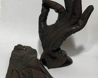 1990's | Driving Gloves | brown w/ dark brown leather