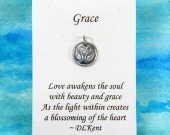 Tiny Swans Charm, Inspirational Jewelry, Personalize, Love Charm, Grace Symbol, Animal Totem Jewelry, Tiny Fine Silver Charm