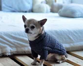 """Dog sweater """"Chesterton"""", wool,  autumn, sweater for chihuahua, jumper for dog, dog's clothes, pullover for puppy, grey"""