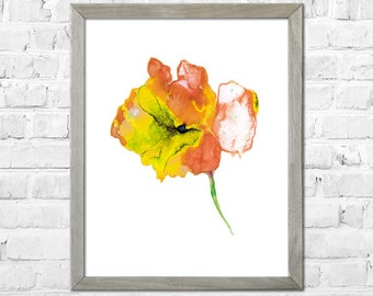 Flower Watercolor painting, Watercolor flower print, Abstract flower, Flower art, Orange Yellow flower, Floral print, Watercolor art