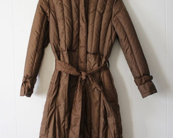 Vintage 80s 90s Long Quilted Belted Brown Zip Up Puffy Coat by Sharpe Size 7/8