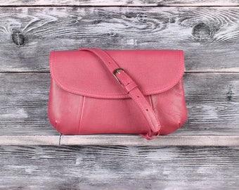 Leather pink clutch bag, small leather bag, pink crossboby bag, shoulder pink bag