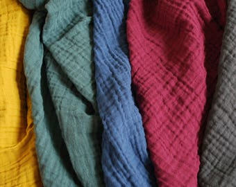 New colors! Double Gauze Fabric - 100% cotton muslin solid colors - sold in half yard increments