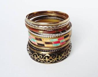 Vintage Bangle Collection x 10 Vintage Gold Silver Tone Boho Chic Bracelets Gypsy Cuff Stacking Bracelets Bangles