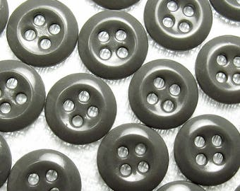 "Charcoal Gray: 9/16"" (14mm) Buttons - Set of 22 New / Unused Matching Buttons"
