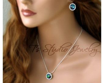 Peacock Blue Rivoli Bridesmaid Necklace - SONIA