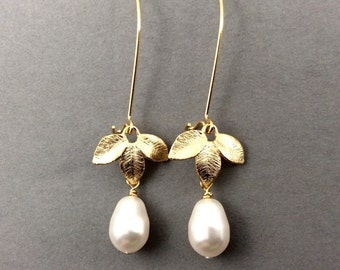 Pearl Earrings Drop Pearl Earrings With Three Leaf Connectors And White Swarovski Crystal Pearls