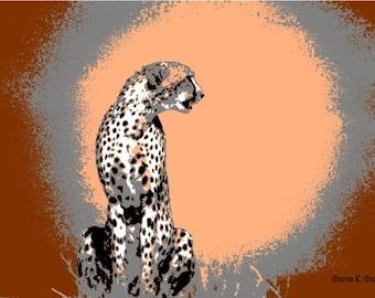 Cheetah Art, Big Cat, Africa Safari, Abstract Realism, Fauvism Wildlife, Peach Burgundy, Wall Hanging, Home Decor, Giclee Print, 8 x 10