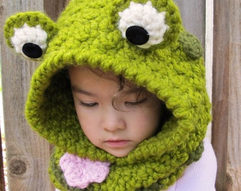 CROCHET PATTERN - Frog Fun - chunky crochet hooded cowl pattern, frog hood, bulky yarn (Toddler, Child, Adult sizes) - Instant PDF Download