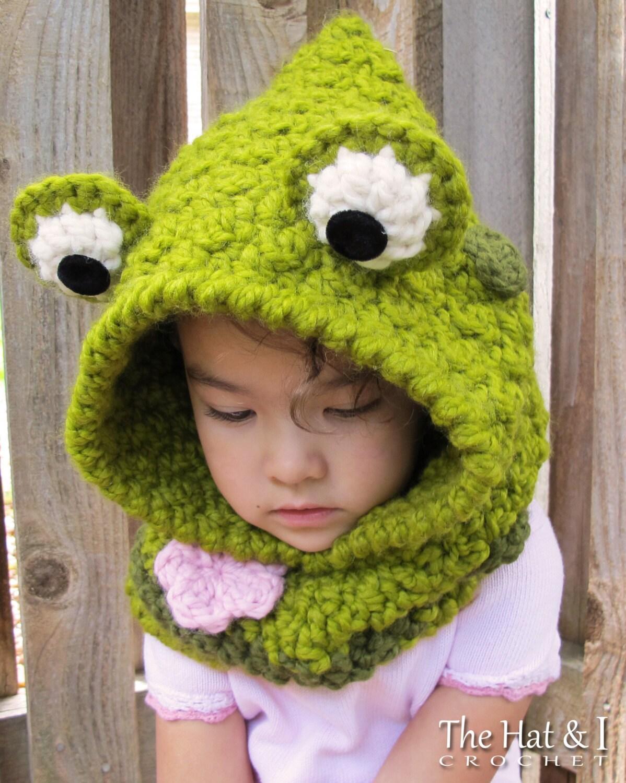 CROCHET PATTERN - Frog Fun - chunky crochet hooded cowl pattern ...